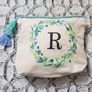 "Beautiful ""R"" Inital Floral Burlap Catch All Bag"